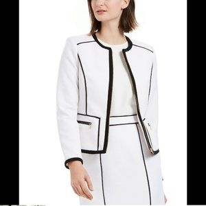 Calvin Klein Women's Contrast Piping Zip-up Blazer